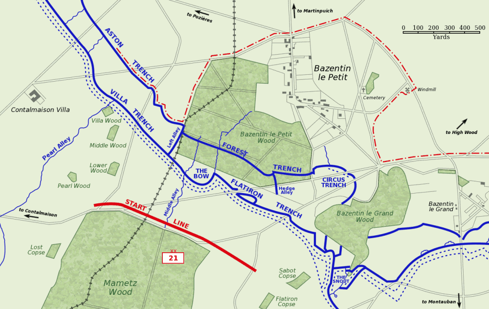 Bazentin_le_Petit_14_July_1916_map
